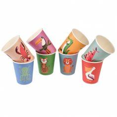 Gobelets en carton Créatures colorées (8 pièces)