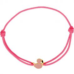 Bracelet cordon Flamant rose (or jaune 375°)