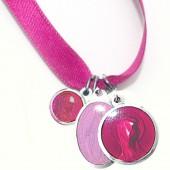 Bracelet ruban rose et médailles assorties (aluminium et résine) - Martineau
