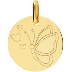 Médaille papillon coeur personnalisable (or jaune 750°)