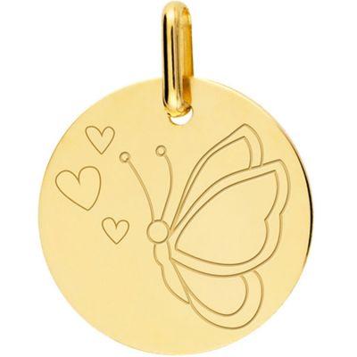 Médaille papillon coeur personnalisable (or jaune 750°)  par Lucas Lucor