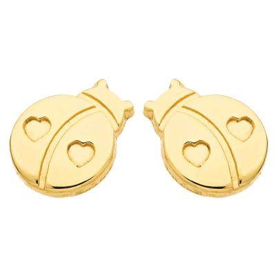 Boucles d'oreilles Coccinelle (or jaune 750°)  par Berceau magique bijoux