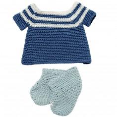 Petite robe et chaussons en crochet de coton bio pour poupée 32 cm