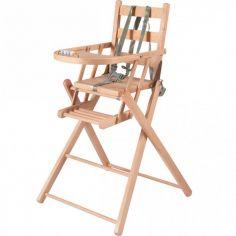 Chaise haute extra pliante en bois Sarah vernis naturel