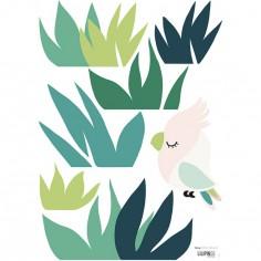 Planche de stickers A3 d'herbe et petit oiseau