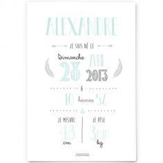 Affiche de naissance A4 vert mint (personnalisable)