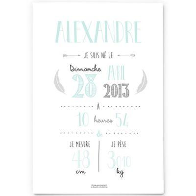 Affiche de naissance A4 vert mint (personnalisable)  par La Poupette à paillettes