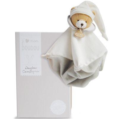 Coffret doudou plat L'Original ours gris (25 cm)  par Doudou et Compagnie
