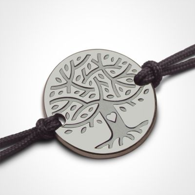 Bracelet sur cordon LOVETREE personnalisable (or blanc 750°)  par Mikado