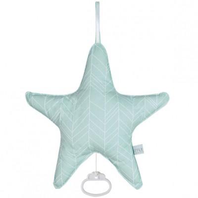 Coussin musical étoile Mint leaves (26 x 24 cm) Little Dutch
