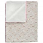 Couverture double face pour bébé oiseau beige et rose en coton bio (100 x 150 cm) - Fresk