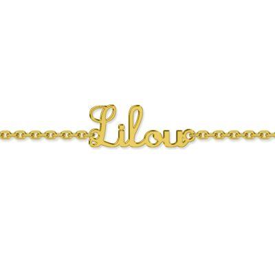 Bracelet bébé prénom découpé police script (or jaune 750°)  par Louis de l'Ange