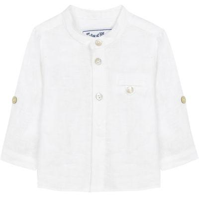 Chemise de cérémonie en lin blanc (3 mois)  par Tartine et Chocolat