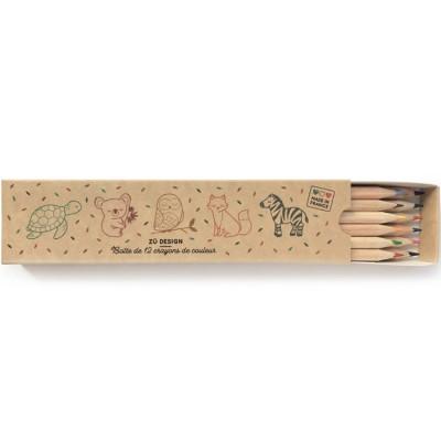 Boîte de 12 crayons de couleurs écologiques Animaux  par Zü