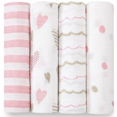 Lot de 4 maxi langes Heart breaker (120 x 120 cm)