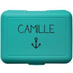 Boîte à goûter bleu canard (personnalisable)