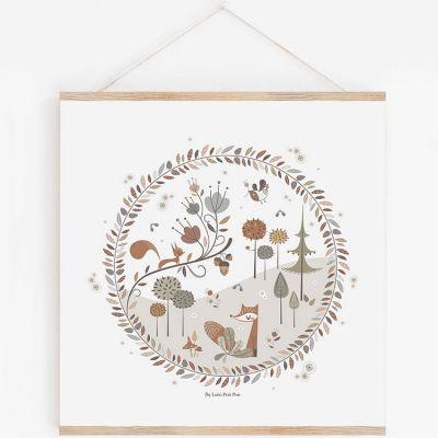 Affiche carrée Little Forest avec support (29,7 x 29,7 cm)  par Lutin Petit Pois