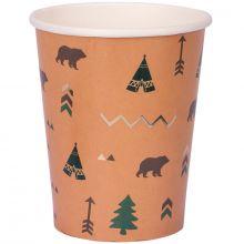 Lot de 8 gobelets en carton Indian Forest  par Arty Fêtes Factory
