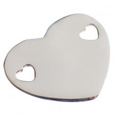 Bracelet empreinte coeur 2 trous coeur sur chaîne simple 18 cm (or blanc 750°)