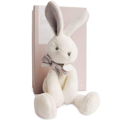 Coffret peluche lapin chic J'aime mon Coffret doudou beige (30 cm)  par Doudou et Compagnie