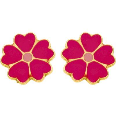 Boucles d'oreilles à vis Fleur fuchsia et rose (or jaune 750°)  par Berceau magique bijoux