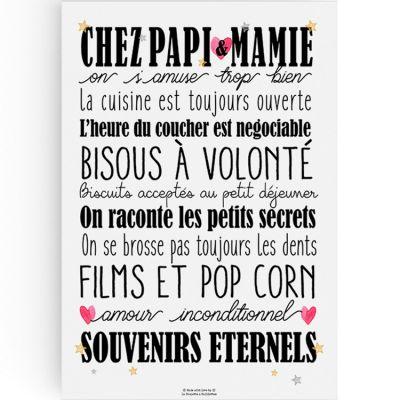 Affiche Chez Papi et Mamie (A3)  par La Poupette à paillettes