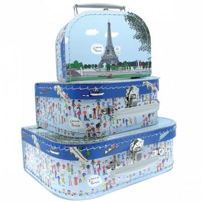 Set de 3 valises décoratives Tour Eiffel  par Petit Jour Paris
