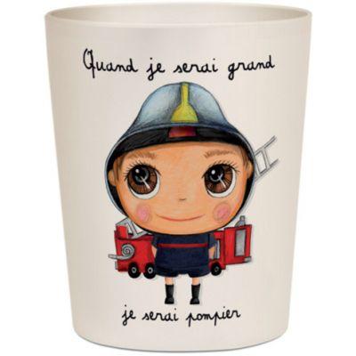 Gobelet en bambou Je serai pompier  par Isabelle Kessedjian