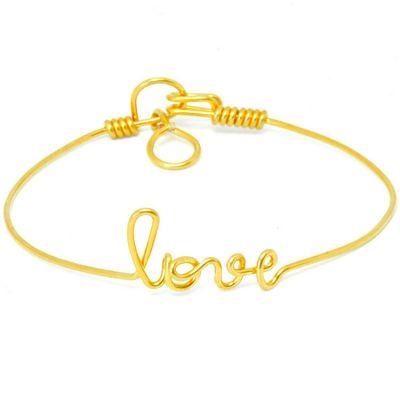 Bracelet Love en fil Gold-filled or jaune 585° (15 cm)  par Hava et ses secrets