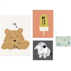 Lot de 4 petites affiches Happy (10 x 15 à 40 x 30 cm)