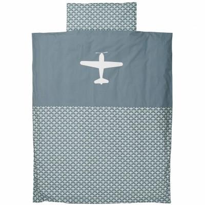 housse de couette et taie d 39 oreiller airplane gris bleu 100 x 135 cm par taftan. Black Bedroom Furniture Sets. Home Design Ideas