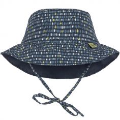 Chapeau anti-UV réversible Splash & Fun Pois bleu (18-36 mois)