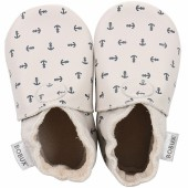 Chaussons bébé en cuir Soft soles Ancre écru (3-9 mois) - Bobux