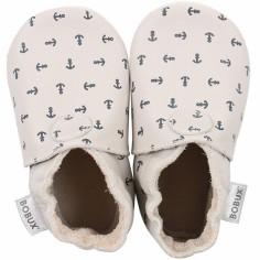 Chaussons bébé en cuir Soft soles Ancre écru (3-9 mois)