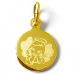 Médaille Ange pensif fille (plaqué or jaune)