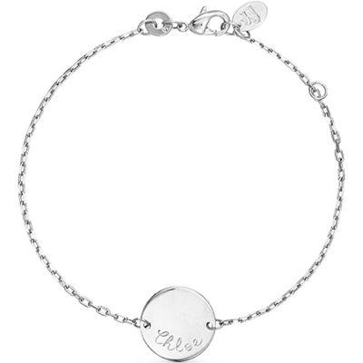 Bracelet Pastille sur chaîne personnalisable (argent 925°)  par Merci Maman