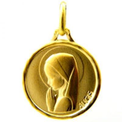 Médaille ronde Vierge mains jointes 14,5 mm (or jaune 750°)