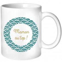 Mug pour les mamans motif éventail bleu pétrole (personnalisable)