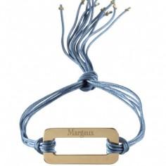 Bracelet cordon de soie Rainbow rectangle (plaqué or)