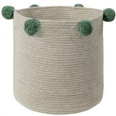 Panier de rangement Bubbly en coton naturel et vert (30 x 30 cm)