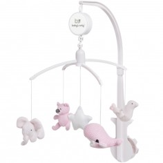 Mobile musical animaux rose