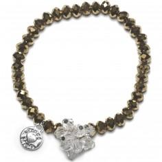 Bracelet Charm perles dorées charm bouquet de perles