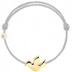 Bracelet cordon Colombe et perle  gris (or jaune 750°)