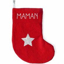 Chaussette de Noël rouge étoile (personnalisable)  par Les Griottes