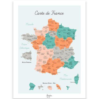 Affiche A4 Carte de France  par Kanzilue