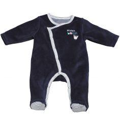 Pyjama chaud Mister Bouh bleu marine (Naissance : 50 cm)