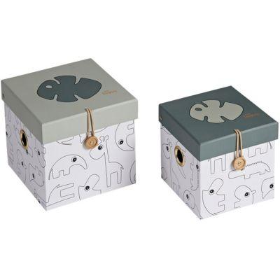 Lot de 2 boîtes de rangement feuille Tiny tropics  par Done by Deer