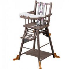 Chaise haute transformable Marcel en bois massif laqué taupe