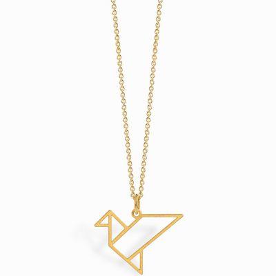 Collier chaîne 40 cm pendentif Origami oiseau 18 mm (vermeil doré)  par Coquine