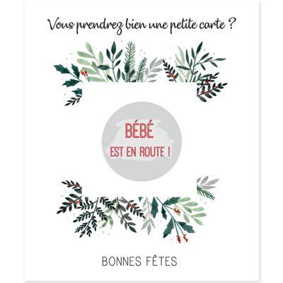Carte à gratter Annonce de grossesse Bonnes fêtes (8 x 10 cm)